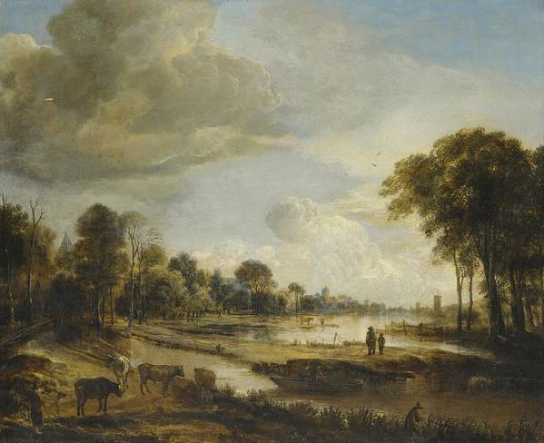 Landscape Print featuring the painting A River Landscape With Figures And Cattle by Gianfranco Weiss