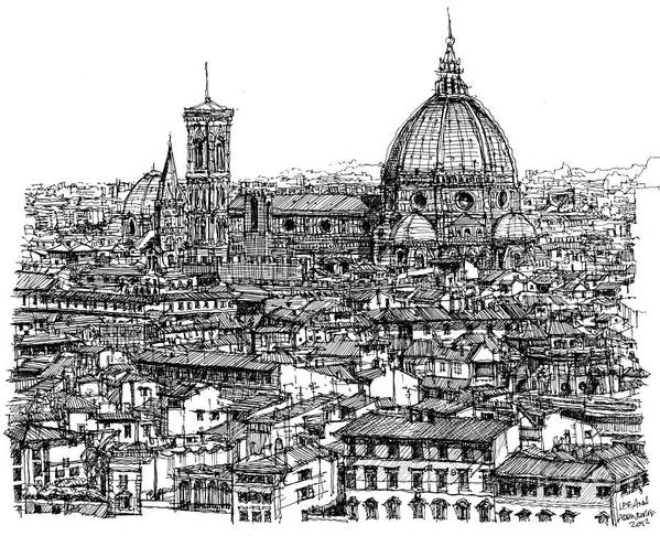 Florence Skyline In Ink Lee-ann Adendorff Pen Duomo Basilica Di Santa Maria Del Fiore Architectural Sketch Architect Illustration City Roofscape Illustrator Architect Tuscany Firenze Basilica Architecture Framed Prints Print featuring the drawing Architecture Of Florence Skyline In Ink by Adendorff Design