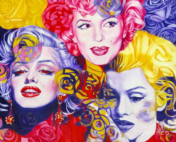 Marilyn Monroe Print featuring the painting Bouquet Of Marilyn by Rebecca Glaze
