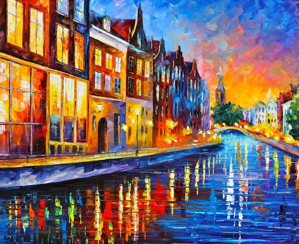 Amsterdam Print featuring the painting Canal In Amsterdam by Leonid Afremov