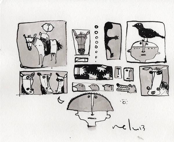 Narrative Print featuring the drawing Fabula No. 1 by Mark M Mellon