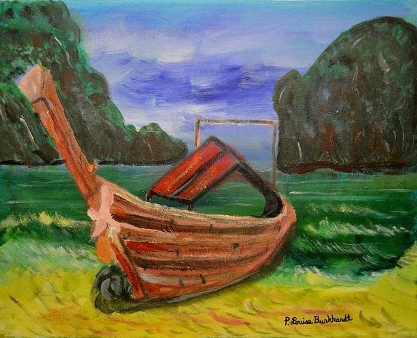 Tropical Print featuring the painting Island Canoe by Louise Burkhardt