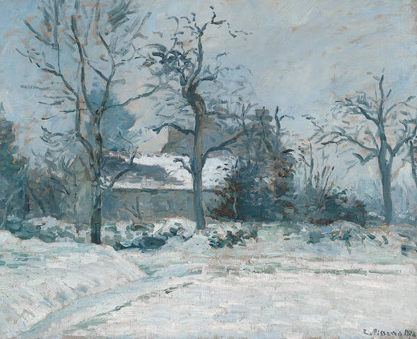 Winter Print featuring the painting Piettes House At Montfoucault by Camille Pissarro