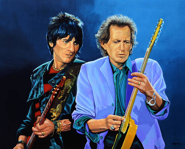 The Rolling Stones Print featuring the painting Ron Wood And Keith Richards by Paul Meijering