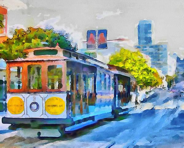 San Print featuring the digital art San Francisco Trams 4 by Yury Malkov