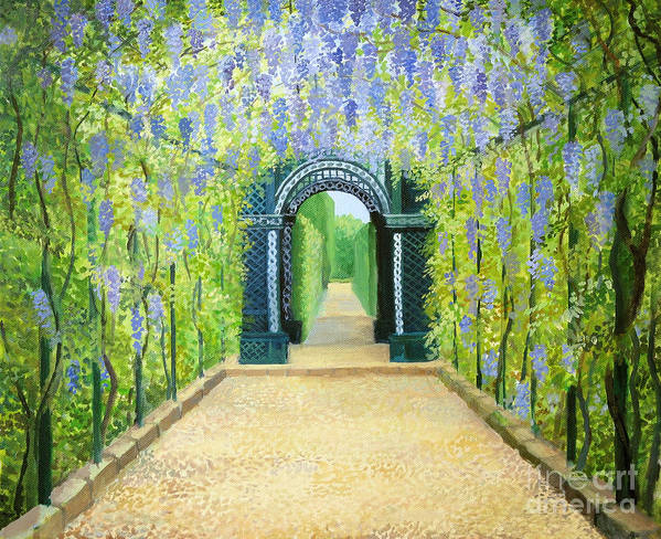 Alley Print featuring the painting Schoenbrunn In Vienna The Palace Gardens by Kiril Stanchev