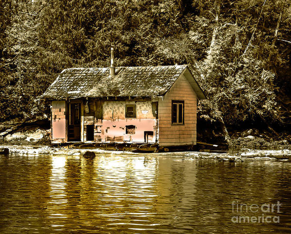 Sepia Print featuring the photograph Sepia Floating House by Robert Bales