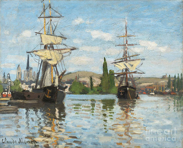 Ship; Tall; Sails; River; View; Scene; Shipping; Sailing; Mast; Boat Print featuring the painting Ships Riding On The Seine At Rouen by Claude Monet