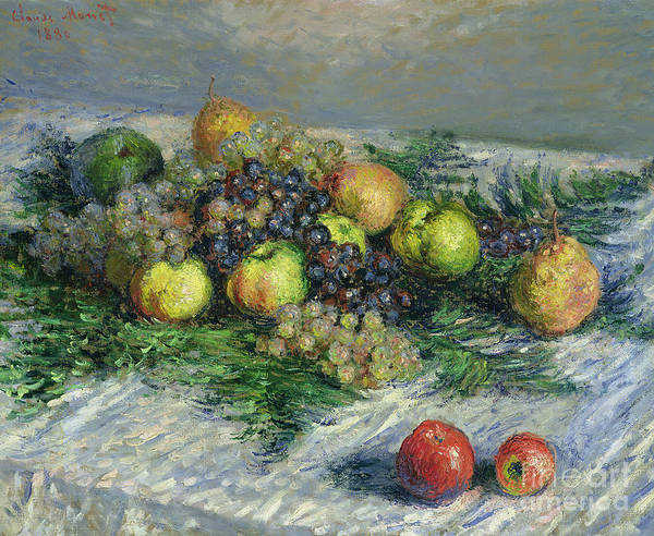 Pear Print featuring the painting Still Life With Pears And Grapes by Claude Monet