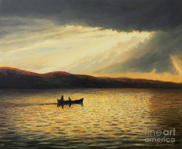 Nature Print featuring the painting The Bay Of Silence by Kiril Stanchev