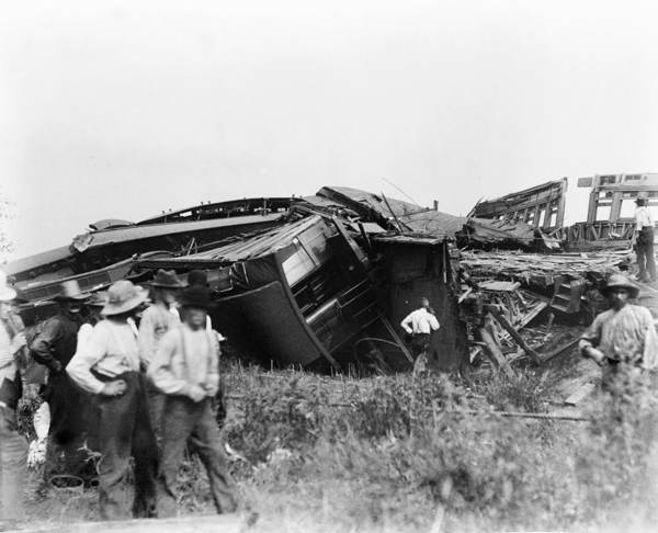 1880s Print featuring the photograph View Of The Great Railroad Wreck, The by Everett