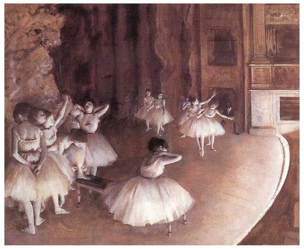 Ballet Rehearsal On The Stage Print featuring the painting Ballet Rehearsal On The Stage by Edgar Degas