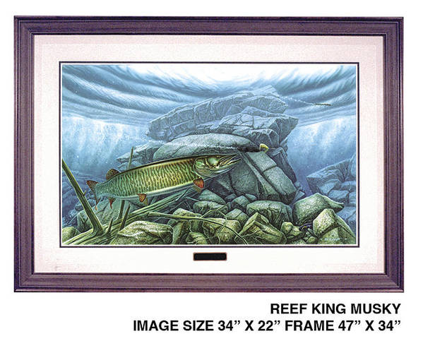 Jon Q Wright Print featuring the painting Reef King Musky by JQ Licensing