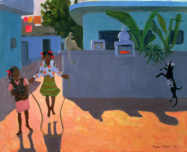 Children Print featuring the painting Girl Skipping by Andrew Macara