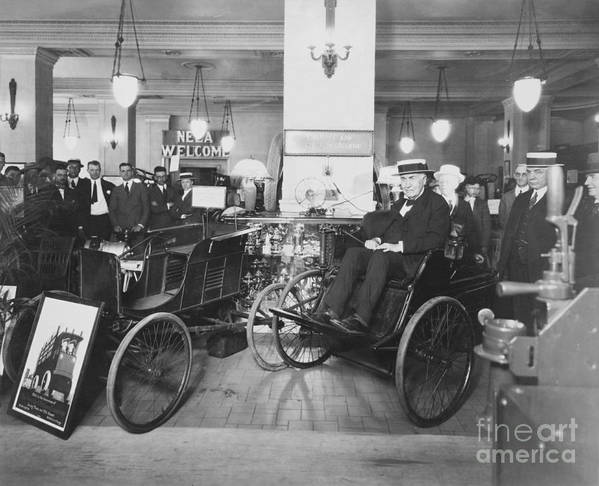 Edison Print featuring the photograph Thomas Edison In Quadricycle by Photo Researchers