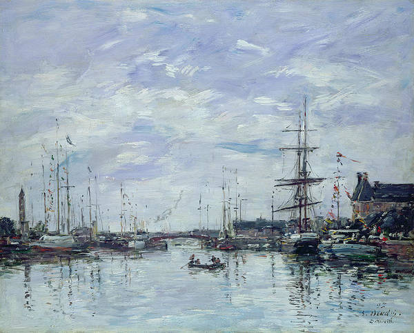 Deauville Print featuring the painting Deauville The Dock by Eugene Louis Boudin