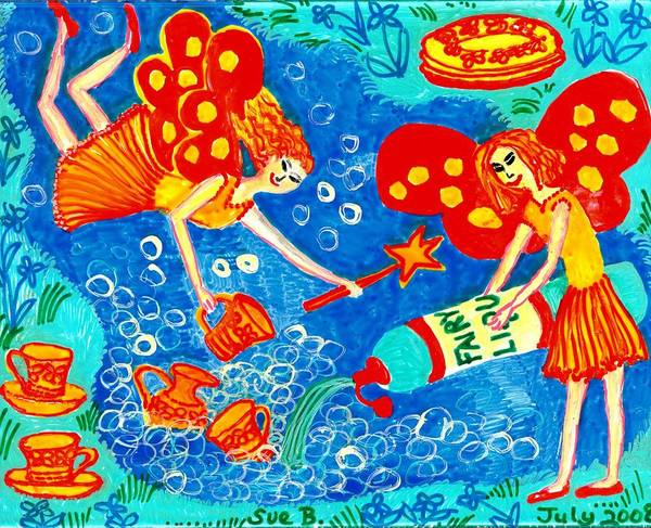 Sue Burgess Print featuring the painting Fairy Liquid by Sushila Burgess
