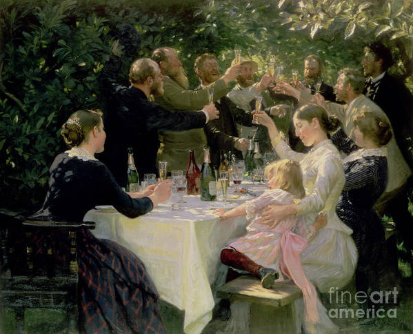 Party Print featuring the painting Hip Hip Hurrah by Peder Severin Kroyer