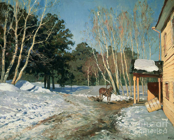 March Print featuring the painting March by Isaak Ilyich Levitan