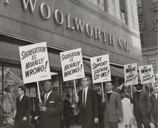 History Print featuring the photograph Ministers Picket F.w. Woolworth Store by Everett