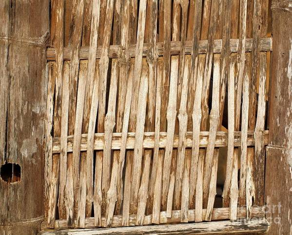 Bamboo Print featuring the photograph Old Wall Made From Bamboo Slats by Yali Shi