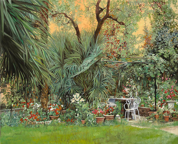 Garden Print featuring the painting Our Little Garden by Guido Borelli