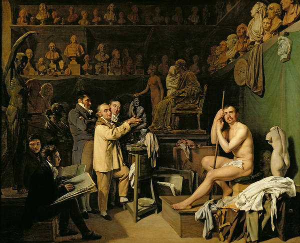 The Print featuring the painting The Studio Of Jean Antoine Houdon by Louis Leopold Boilly