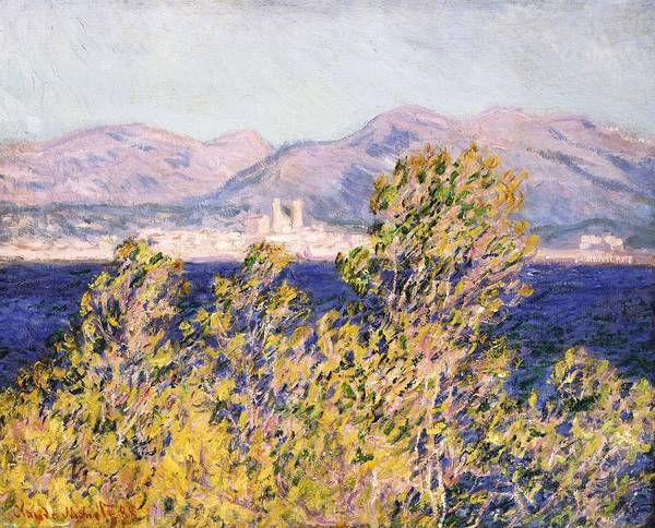 Impressionism; Impressionist; Landscape; Tree; Mountain; Wind; Sea; Ocean; Coast; Mediterranean; Cape; Gorse; Breeze; View Of The Cap D'antibes With The Mistral Blowing Print featuring the painting View Of The Cap Dantibes With The Mistral Blowing by Claude Monet