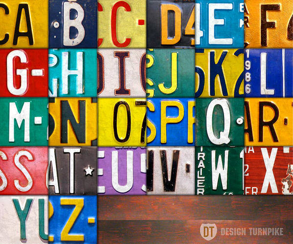 Alphabet Print featuring the mixed media Alphabet License Plate Letters Artwork by Design Turnpike