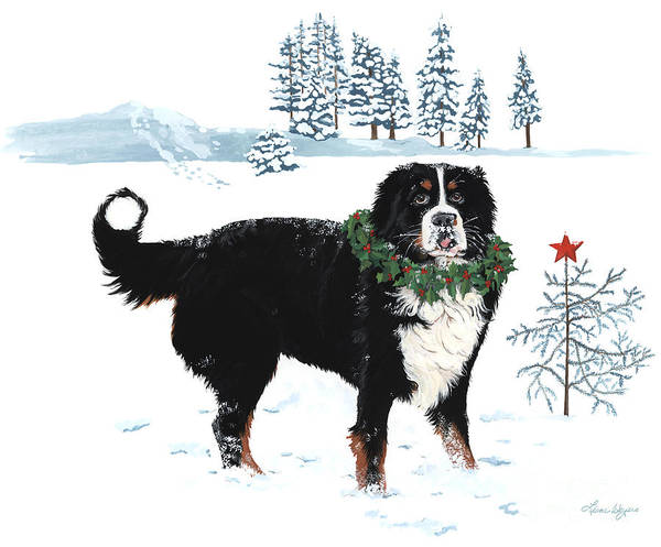 Merry Christmas Bernese Mountain Dog Sticking Out His Tonge Charley Brown Christmas Tree. Bah Humbug Who Cares Snow Wreath Star Liane Weyers Artist Painting Holly Tree Print featuring the painting Bah Humbug Merry Christmas Large by Liane Weyers