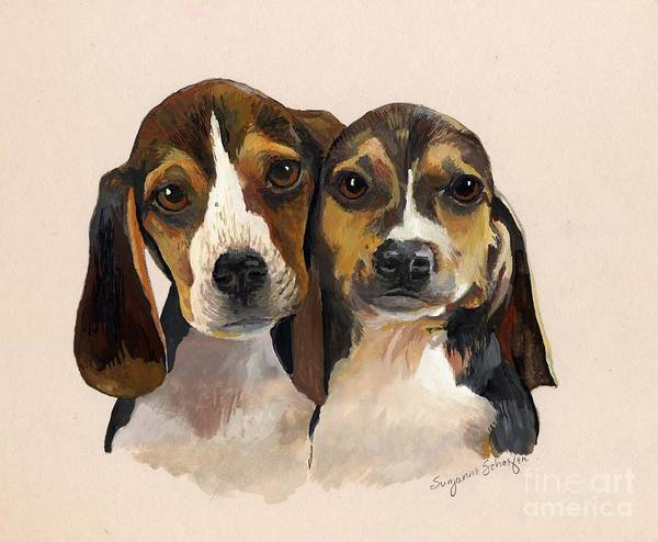 Dogs Print featuring the painting Beagle Babies by Suzanne Schaefer