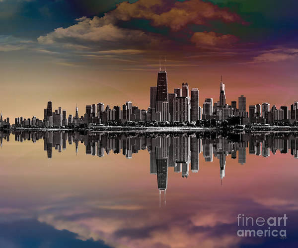 City Print featuring the digital art City Skyline Dusk by Bedros Awak