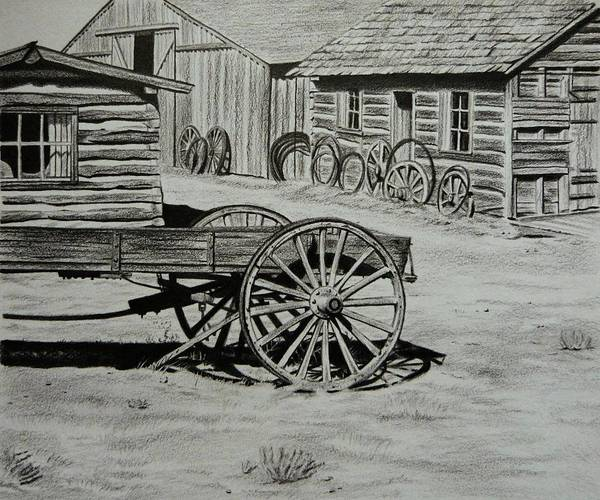 Historic Cabins Print featuring the painting Historic Cabins Cody Wyoming by Lucy Deane