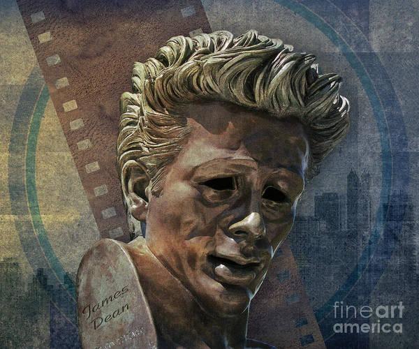 Digital Print featuring the digital art James Dean by Bedros Awak