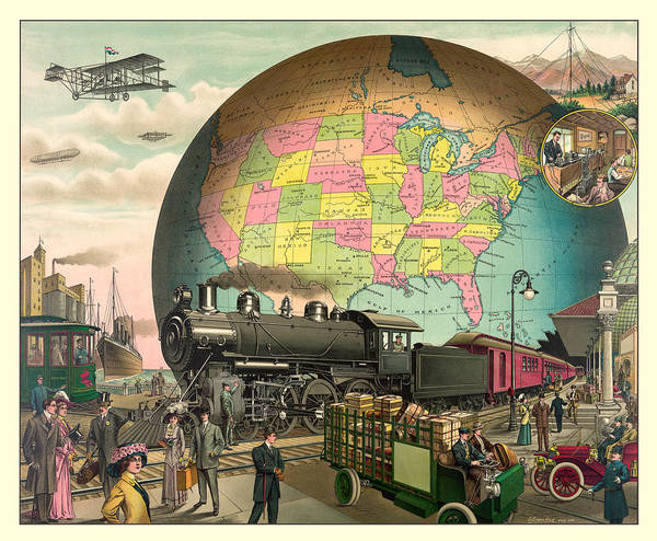 Antique Print featuring the digital art Transportation by Gary Grayson