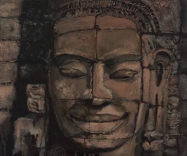 Angkor Print featuring the painting Angkor Smile - Angkor Wat Painting by Khairzul MG