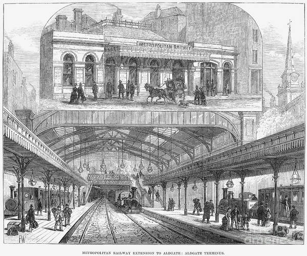 1876 Print featuring the photograph London: Railway, 1876 by Granger