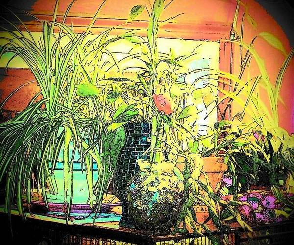 House Plants Print featuring the mixed media Plants by YoMamaBird Rhonda