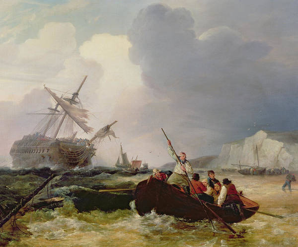 Boat Print featuring the painting Rowing Boat Going To The Aid Of A Man-o'-war In A Storm by George Chambers