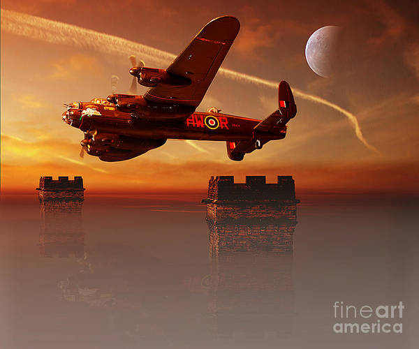 Avro Lancaster Print featuring the pyrography The Towers by Nigel Hatton