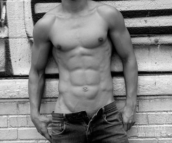 Nude Print featuring the photograph Male Abs by Mark Ashkenazi