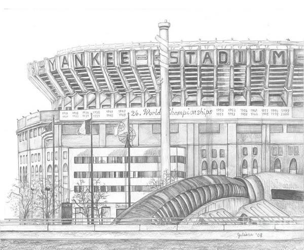 Yankee Stadium Print featuring the drawing Yankee Stadium by Juliana Dube