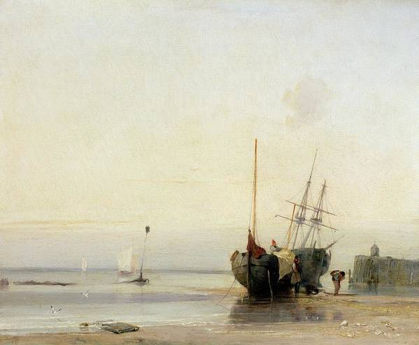 Calais Print featuring the painting Calais Pier by Richard Parkes Bonington