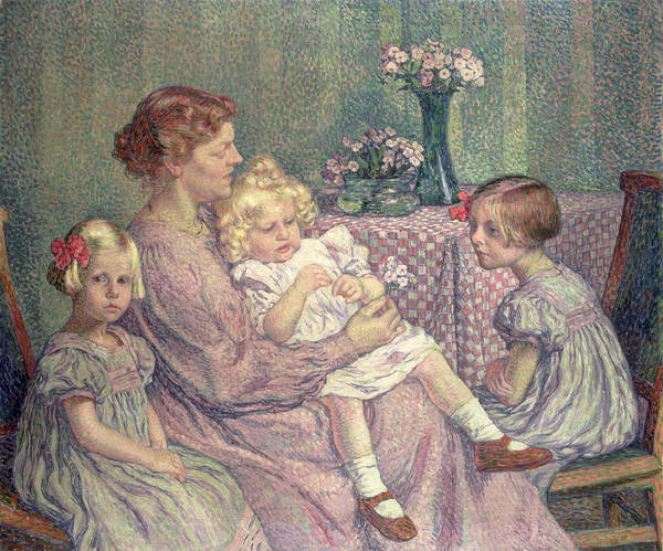Madame Print featuring the painting Madame Van De Velde And Her Children by Theo van Rysselberghe
