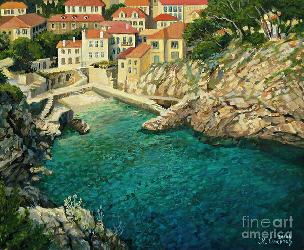 Adriatic Print featuring the painting Majestic Beauty by Kiril Stanchev