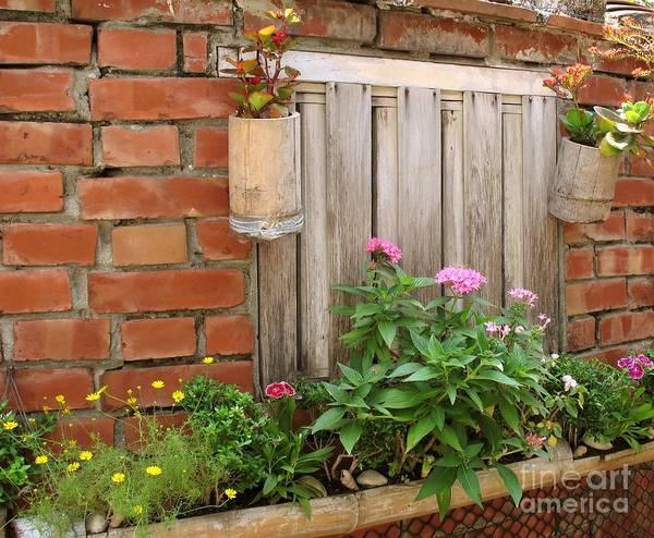 Garden Print featuring the photograph Pretty Garden Wall by Yali Shi