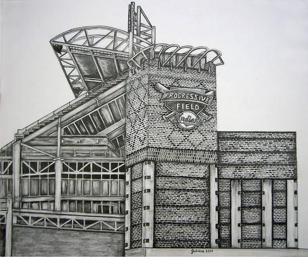 Progressive Field Print featuring the drawing Progressive Field by Juliana Dube