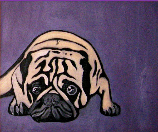 Pug Print featuring the painting Purple Pug by Darren Stein