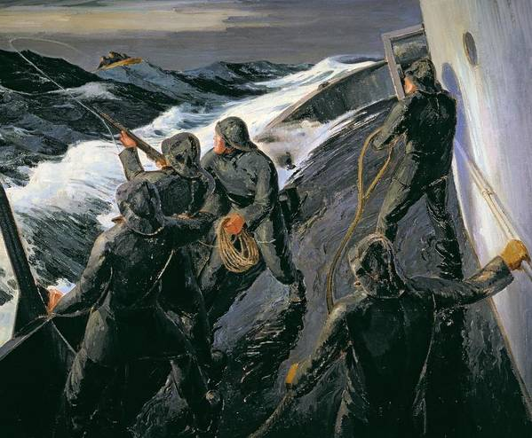Rescue - Firing A Costen Gun Line (oil On Canvas) By Thomas Harold Beament (1898-1985) Print featuring the painting Rescue by Thomas Harold Beament