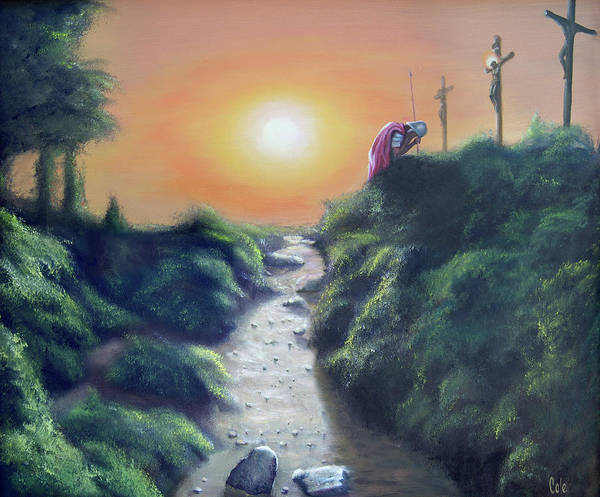 Cross Print featuring the painting Soldier At The Cross by Larry Cole